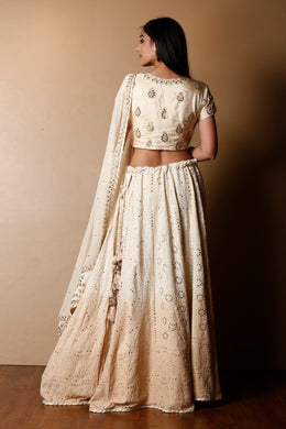 Lucknowi Georgette Lehenga in Cream color with Gota Patti, Mukesh Work, Sequins, Thread work.
