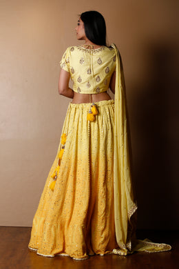 Lucknowi Georgette Lehenga in Yellow color with Gota Patti, Mukesh Work, Sequins, Thread work.