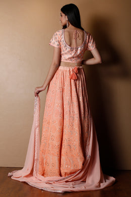 Lucknowi Georgette Lehenga in Peach color with Gota Patti, Mirror, Mukesh Work, Thread, Zardozi work.