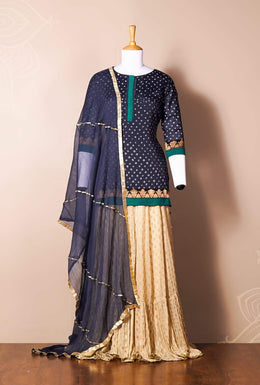 Zari-jaipur Suits Suits in Blue (Dark Blue) color with Bandhej work.