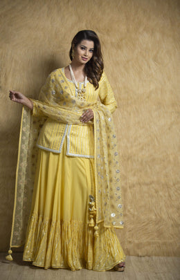 Zari-jaipur Suits Suits in Yellow color with Aari, Gota work.