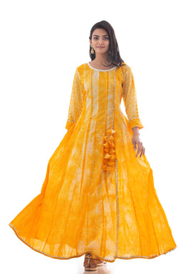 Kurti in Yellow color with Shibori, Gota work.