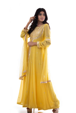 Suits in Yellow color with Pittan work.
