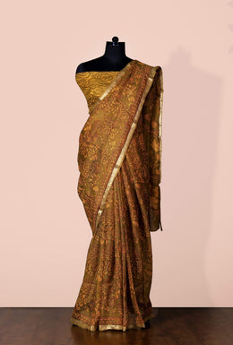 Zari-jaipur Saree Purple 1 Saree in Dark Green color with Block Print & Zari Border.