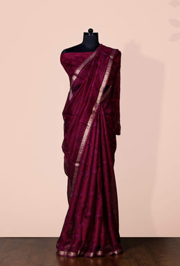 Zari-jaipur Saree Maroon Saree in Maroon color with Block Print & Zari Border.