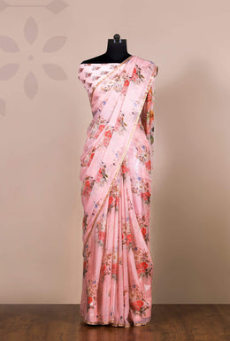 Zari-jaipur Saree Blue (Light Blue) Saree in Pink color with Printed work.