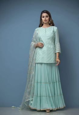 Zari-jaipur Suits BLUE (LIGHT BLUE) Sky Blue Color Suit