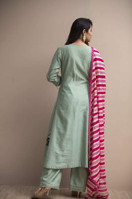 Zari-jaipur Suits Green (Light Green) Suits in Green (Light Green) color with Dori, Sequins, Zardozi, Leheriya work.