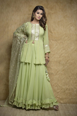 Zari-jaipur Suits Green (Light Green) Suits in Green (Light Green) color with Aari, Gota work.