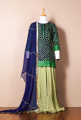 Zari-jaipur Suits Blue (Dark Blue) 3 Suits in Blue (Dark Blue) color with Bandhej work.