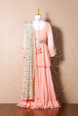 Zari-jaipur Suits Pink Suits in Green (Light Green) color with Aari, Gota work.