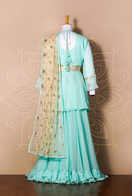 Zari-jaipur Suits Blue (Light Blue) Suits in Green (Light Green) color with Aari, Gota work.