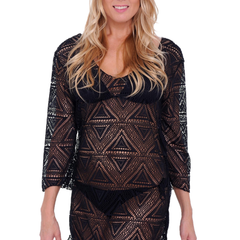 Women's Crochet Long Sleeve Swimwear Cover-up Beach Dress Made in the USA