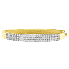 14k Yellow Gold 2ct TDW Round Cut Diamond Fashion Bangle (H-I,I1-I2)
