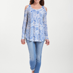Aquatic Floral Blue (7619) ~ Cold Shoulder Tunic