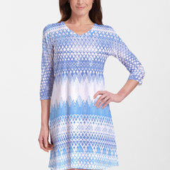 Echo Blue (7657) ~ V-neck Swing Dress