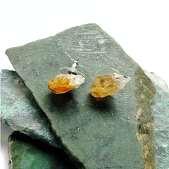 Raw Citrine Stud Earrings