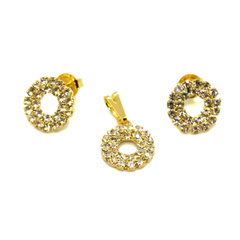 (1-6295-h9) Gold Overlay Crystals Circles Sets, 12mm.