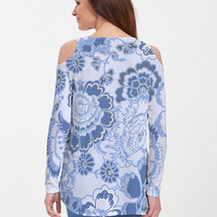 Carnation Periwinkle (7575) ~ Cold Shoulder Tunic