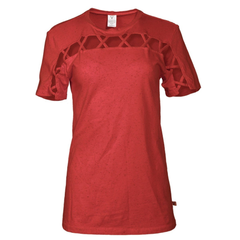 Avalon- Women's Short Sleeve Crew Neck Square Hole Premium Tee Shirt