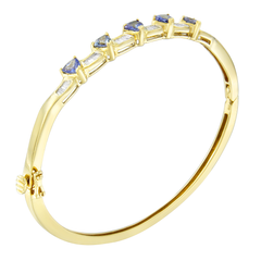 14K Yellow Gold 2ct. TDW Baguette-cut Diamond and Tanzanite Bangle (H-I, VS2-SI1)