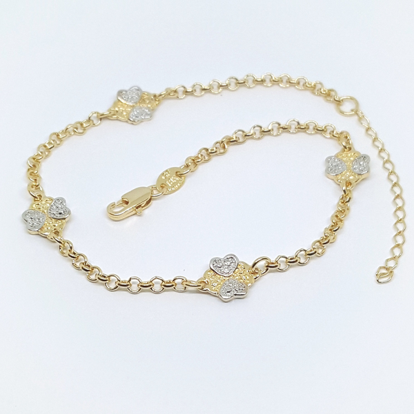1-0206-h2 Gold Filled Two Tone Heart/Clover Charms Rolo Anklet, adjustable.