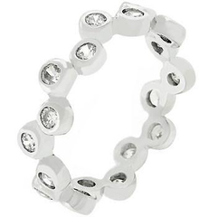 Bezel Set Clear CZ Eternity Band