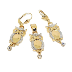 (1-6087-h4) Gold Filled Two Tone Owl Earring and Pendant Set.