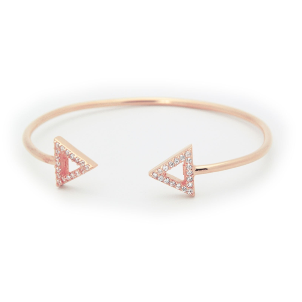 Rose Triangle Cz Cuff Bangle