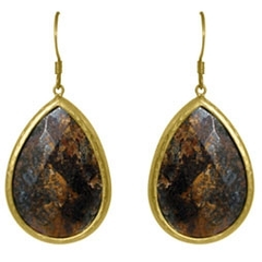 Zirconite Large Bronzite Tear Drop Earring