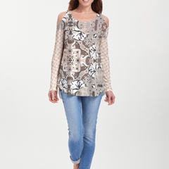 Eden Brown (2847) ~ Cold Shoulder Tunic