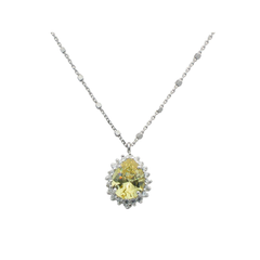 Almond Canary & CZ Pendant Necklace in Sterling Silver