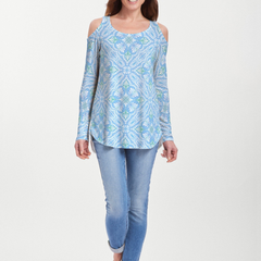 Ceramic Tiles Aqua (7615) ~ Cold Shoulder Tunic