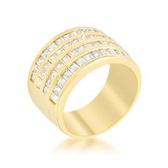 4 Row Gold Cubic Zirconia Cocktail Ring