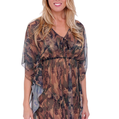Gorgeous MESH CAMOFLOUGE Swimwear Cover up SHORT SLEEVE DRESS:CAMO