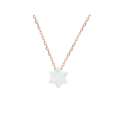 "925 Rose Gold Plated Silver Mini Opal Stone Star of David Necklace, 15"" + 2""ext"