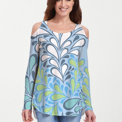 Flume Aqua (14149) ~ Cold Shoulder Tunic