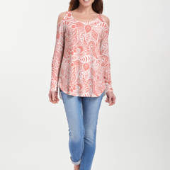 Aquatic Floral Orange (7623) ~ Cold Shoulder Tunic