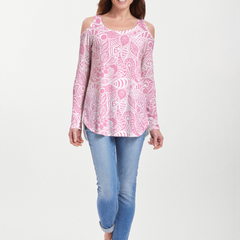 Aquatic Floral Pink (7618) ~ Cold Shoulder Tunic