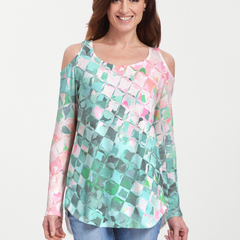 Crackle Teal (2852) ~ Cold Shoulder Tunic