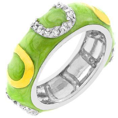 Apple Green Enamel Horseshoe Ring