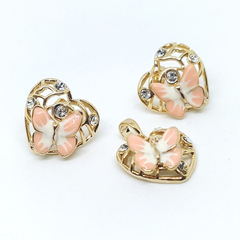 1-6359-h1 Gold Plated Colored Butterfly Earring and Pendant Set. (3 Colors Available)