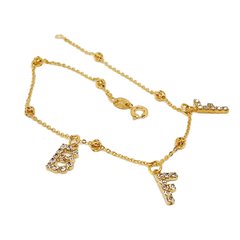 "(1-0060-2453-h6) Gold Filled ""BFF"" Crystal Charms Anklet, 10""."
