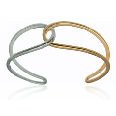 Modern Silver and Gold Cuff Bracelet