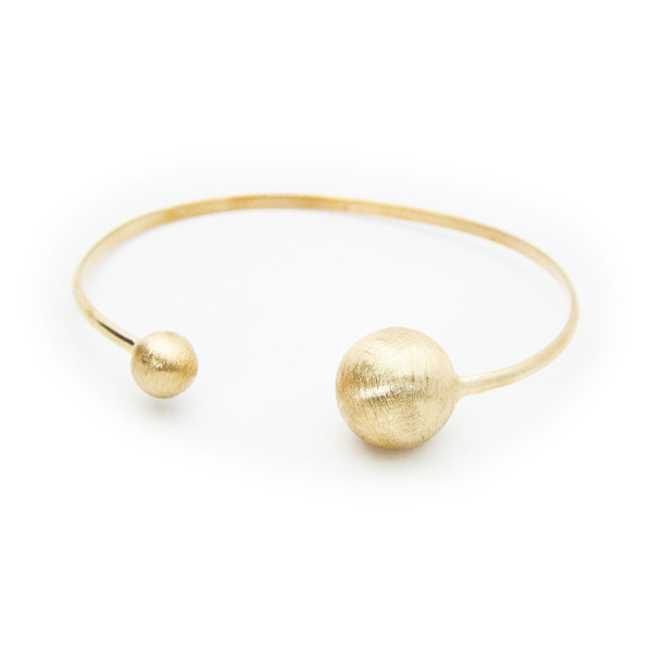Satin Golden Globes Cuff Bangle