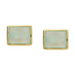 Milky Green Agate Stud Earrings
