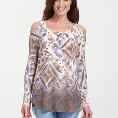 Desert Ikat Beige (17105) ~ Cold Shoulder Tunic