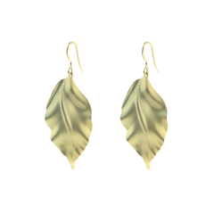 Satin Gold Greek Leaf Earring in Vermeil Sterling Silver, 2""