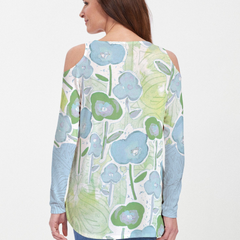 Desert Blooms Blue (17103) ~ Cold Shoulder Tunic