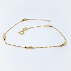 1-0063-h2 Gold filled  Beaded Anklet, 9-3/4""